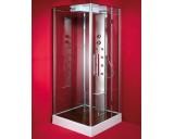 Sprchový kout ZAFRA 100x100 cm (chromovaný rám, čiré sklo, s akrylátovou vaničkou)
