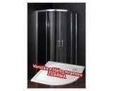 Čtvrtkruhový sprchový kout Briliant 80 clear NEW s vaničkou z litého mramoru - akce