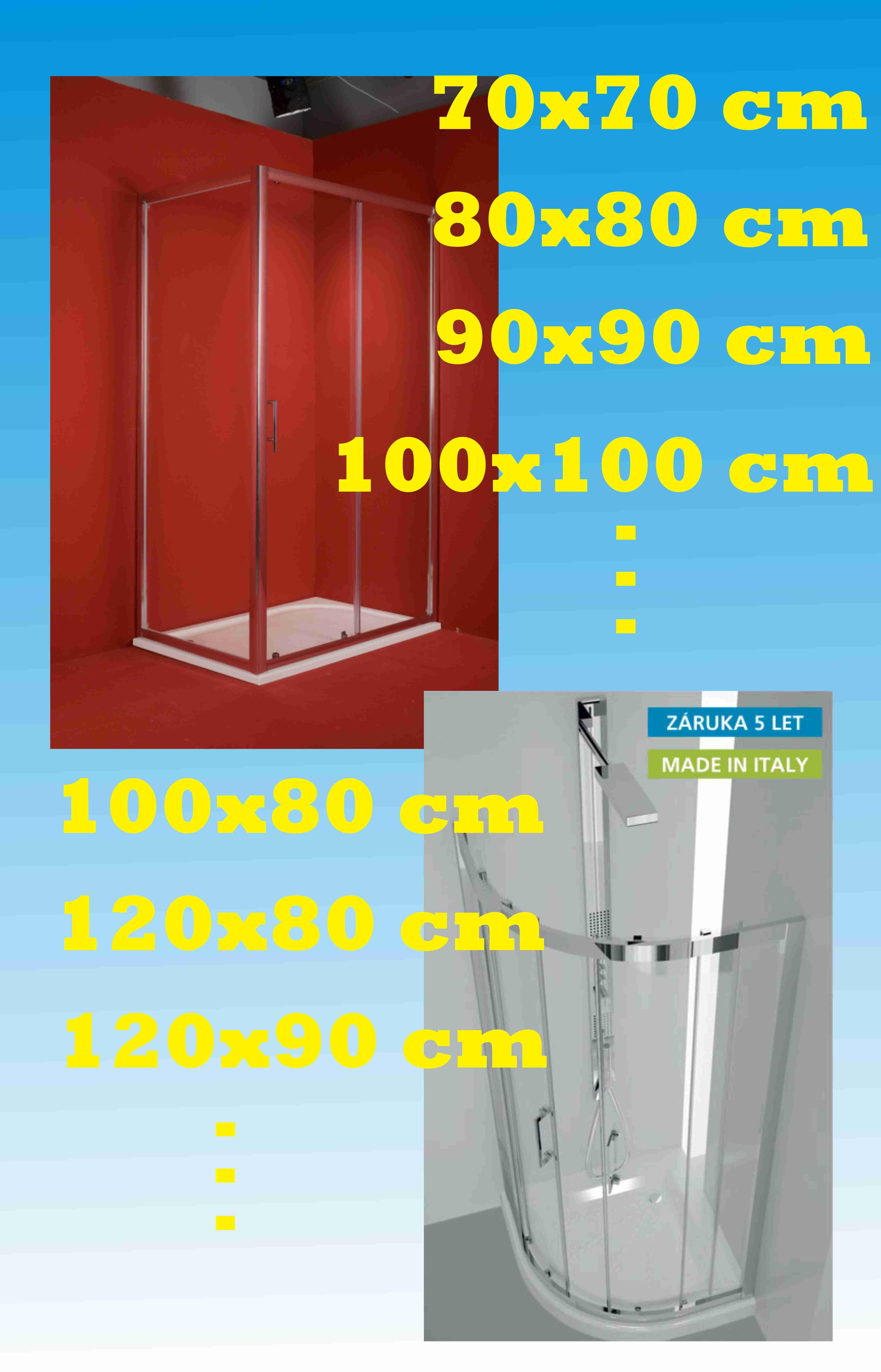 Rozměrové rozdělení sprchových koutů